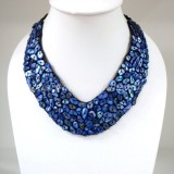 Shell V-Shaped Necklace (Blue)