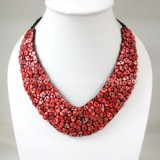 Shell V-Shaped Necklace (Red)