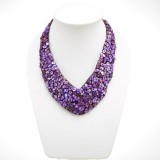 Shell V-Shaped Necklace (Purple)