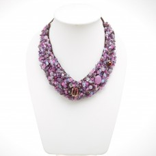 Stone and Shell  V-Shaped Necklace MIX(PURPLE)