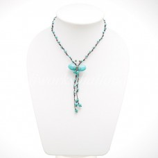 Butterfly Tail Necklace (Turquoise dyed Howlite)