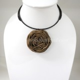Silk flower choker necklace (Brown 04 )