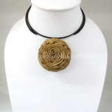 Silk flower choker necklace (Brown 06 )