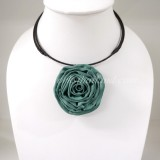 Silk flower choker necklace (Teal Green 03 )