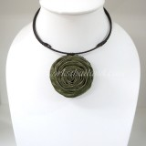 Silk flower choker necklace (Olive Green 04 )