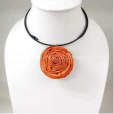 Silk flower choker necklace (Orange )