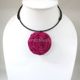 Silk flower choker necklace (Dark Pink )