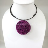 Silk flower choker necklace (Red-Purple )