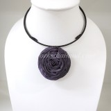 Silk flower choker necklace (Plum Purple)