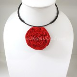 Silk flower choker necklace (Red )