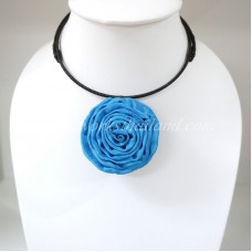 Silk flower choker necklace (Sky Blue)