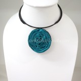 Silk flower choker necklace (Teal Green )