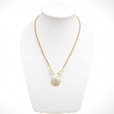 Brass Beaded Necklace With Pearl Shell Pendant (White)