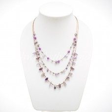 Rice Bead Shaped Silk thread Necklace (Amethyst )