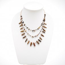 Rice Bead Shape Silk thread Necklace (Tiger Eye )