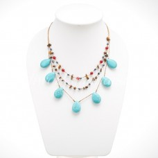 Teardrop Silk Thread Necklace (Blue Howlite Turquoisesize M)