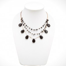 Teardrop Silk Thread Necklace (Black Onyx size S)