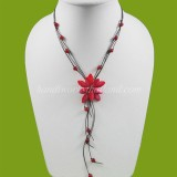 Shell flower necklace size S (Red)