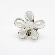 Crystal Flower Ring (White)