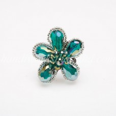 Crystal Flower Ring (Green)