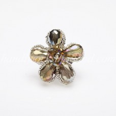 Crystal Flower Ring (Smoky Color)