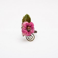 Single Leather Flower Ring (Pink)