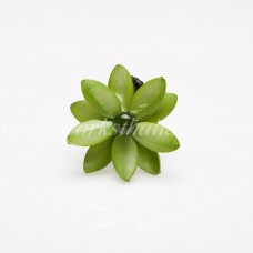 Flower Oval Shell Bead Ring (Green)