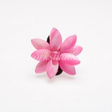Flower Oval Shell Bead Ring (Pink)