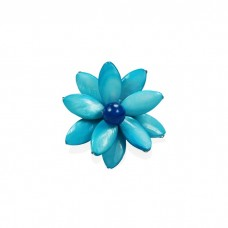 Flower Oval Shell Bead Ring (Sky Blue)