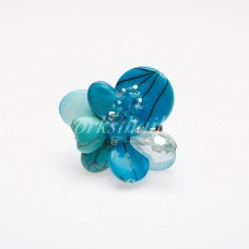 Shell Bead Mix Ring (Sky Blue)
