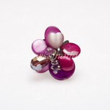 Shell Bead Mix Ring (Purple)