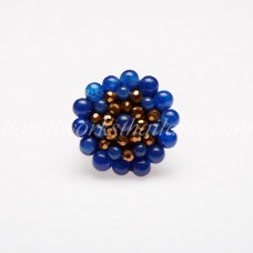 Round Stone Bead Ring (Blue)