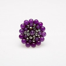 Round Stone Bead Ring (Purple)