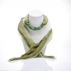 Olive-Green Two Tone Scarf Decorated With Green Jade