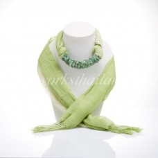 Light Green Two Tone Scarf Decorated With Green Jade