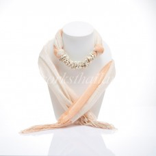Light Orange Two Tone  Scarf Decorated With Howlite