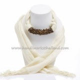 Creme Scarf Decorated with Tiger Eye