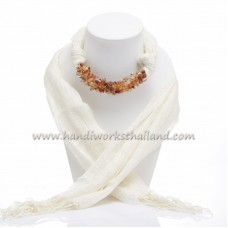 Creme Scarf Decorated with Carnelian