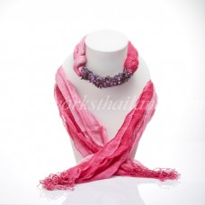 Pink Two Tone Scarf Decorated With Amethyst