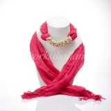 Pink Scarf Decorated With Howlite