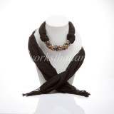 Black Scarf Decorated with Mix Stone