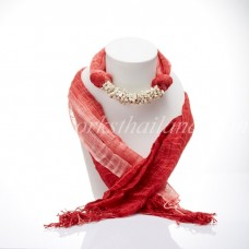 Red Two Tone Scarf Decorated With Howlite
