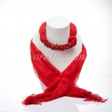 Red Scarf Decorated With Red Coral