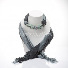 Gray Two Tone Scarf Decorated With Fluorite