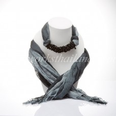 Gray Two Tone Scarf Decorated With Onyx