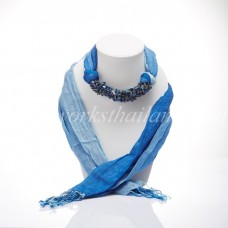 Blue Two Tone Scarf Decorated With Lapis Lazuli