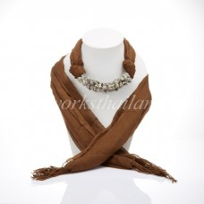 Brown Scarf Decorated With Black Rutilliated Quartz