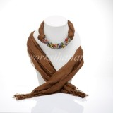 Brown Scarf Decorated With Mix Stone