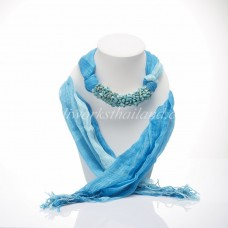 Sky Blue Tow Tone Scarf Decorated With Turquoise