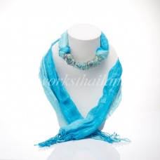 Blue Two Tone Scarf Decorated With Fluorite
